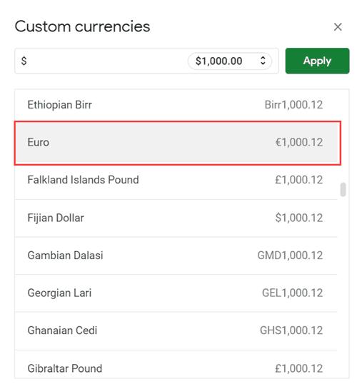Select Euro Symbol in Custom Currency dialog box