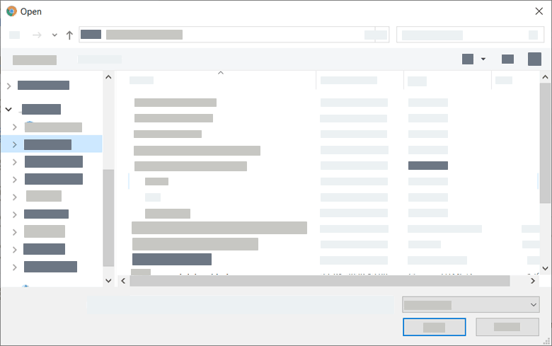 Select the file by navigating to it's location