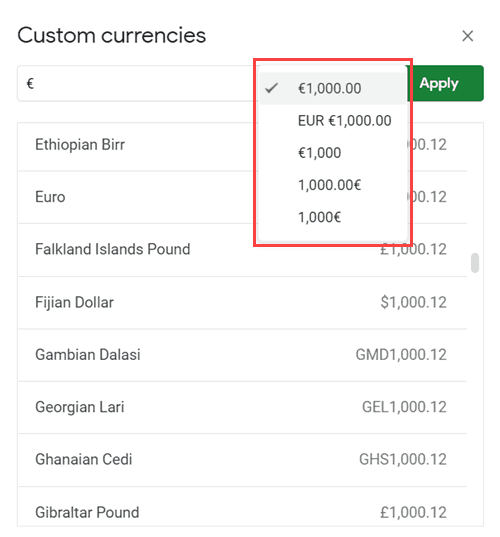 Select the format how you want to show the Euro Symbol