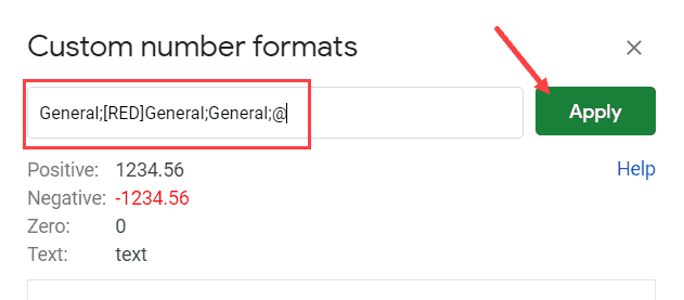 Specify the format to show negative values in red and then click on apply