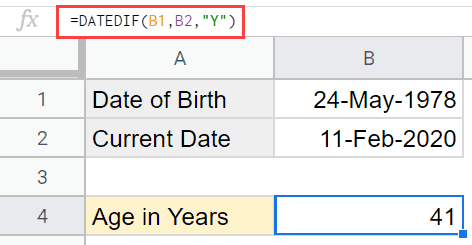 Calculating Age in Google Sheets using DATEDIF