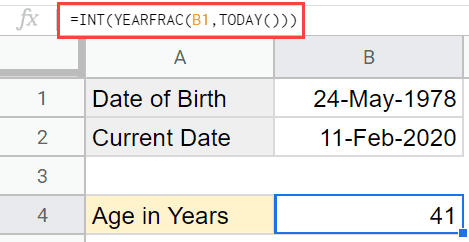 Calculating Age in Google Sheets using YEARFRAC