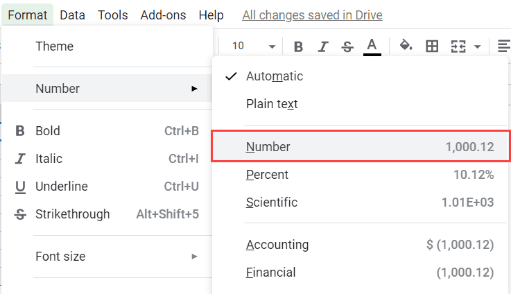 Click on the Number Option
