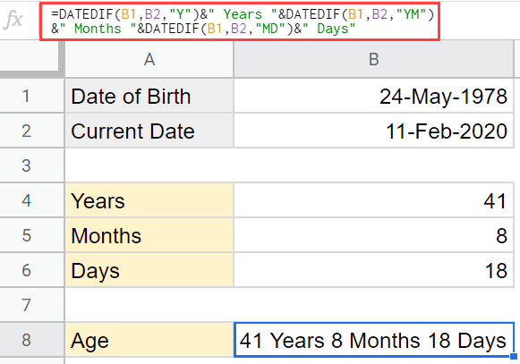 Full age in years months and days
