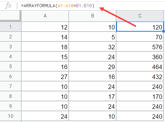 Array formula to multiply columns in Google sheets