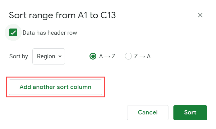Click on Add another sort column