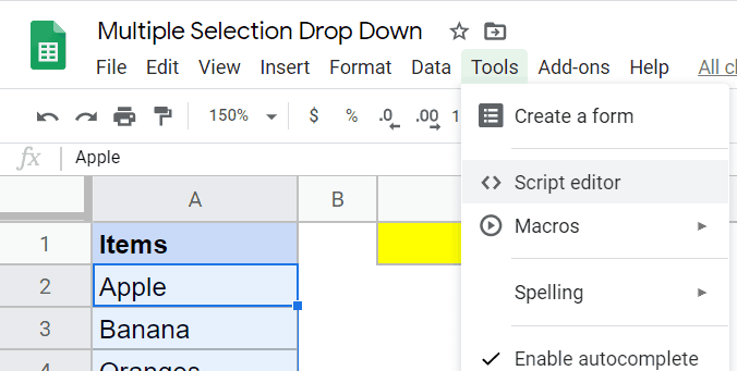 Click on Script Editor in the Tools options