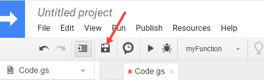 Click the Save button in the toolbar