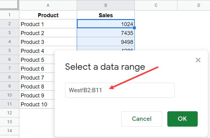 Navigate and select the range