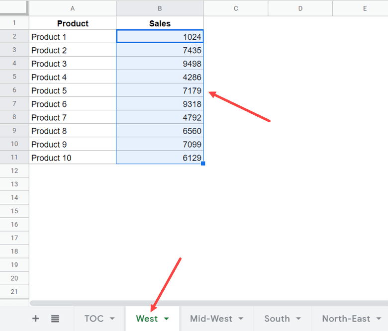 Range to get selected when you click on the link in the cell with number