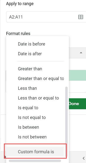 Select Custom Formula is