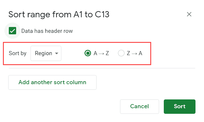 Select Region as the column and sort order