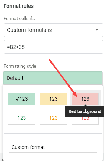 Select the formatting to highlight the cell based on the value