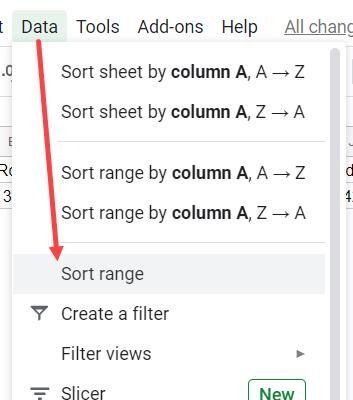 Click on Sort Range option