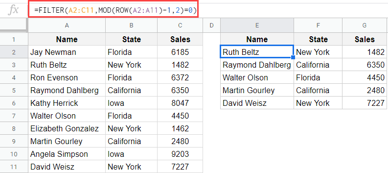 Filter ODD numbered rows or Even numbered rows in Google Sheets