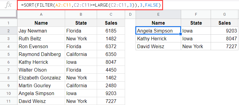 Filter and Then Sort the data in Google Sheets using Formulas