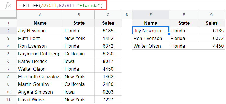 Filter data based on the state uisng the FILTER function