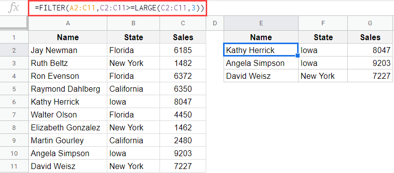 Filter top 3 results in Google Sheets