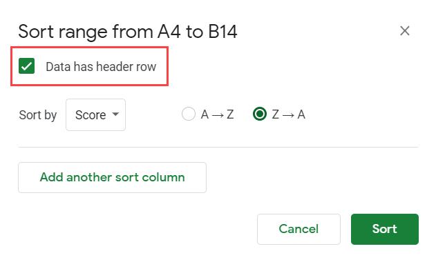 Select data has header row