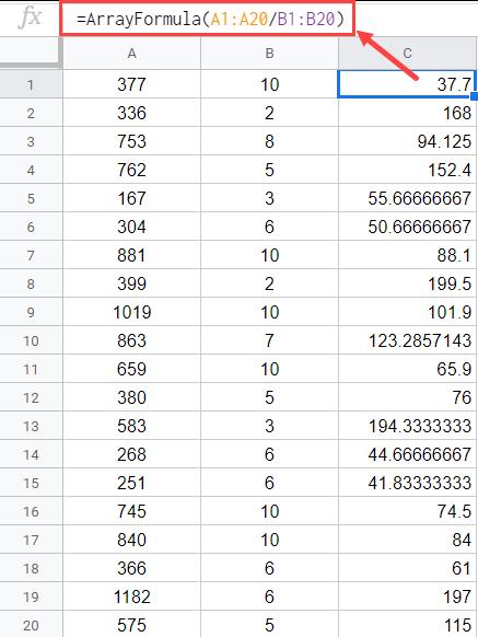 Array formula to divide columns