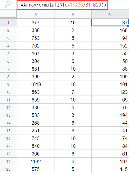 Array formula to divide without remainder in Google Sheets
