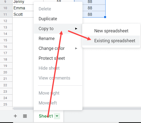 Click on Existing Spreadsheet