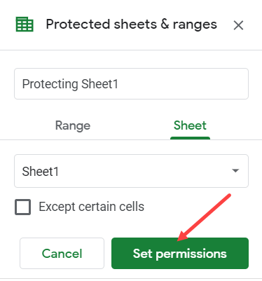 Click on Set Permissions button