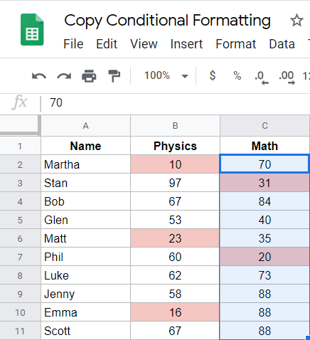Copy conditional formatting by using Paint Format