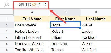 Formula to split cells in Google Sheets