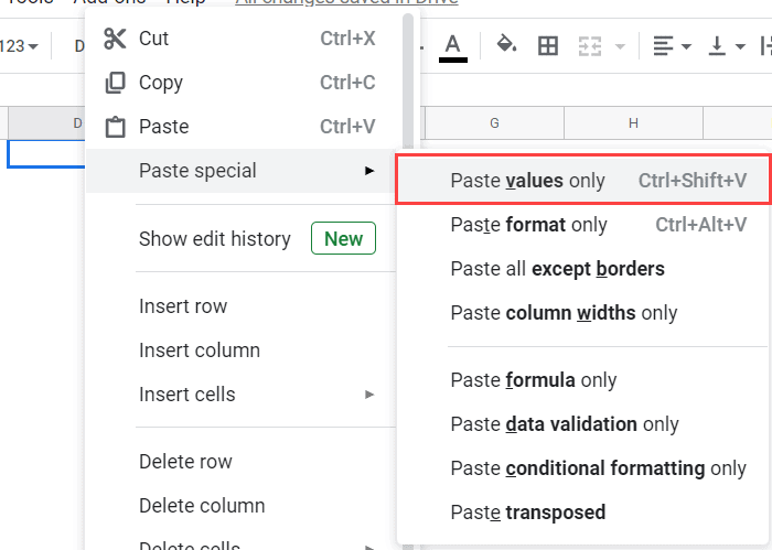 Paste Values Only