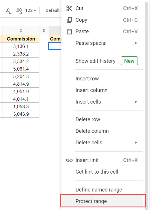 Right-click and then click on Protect Range