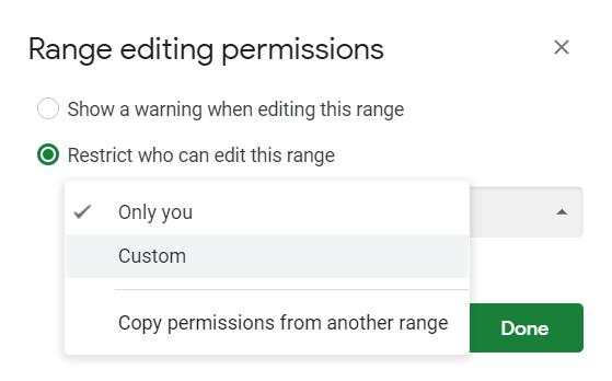 Select Custom as the range editing permission