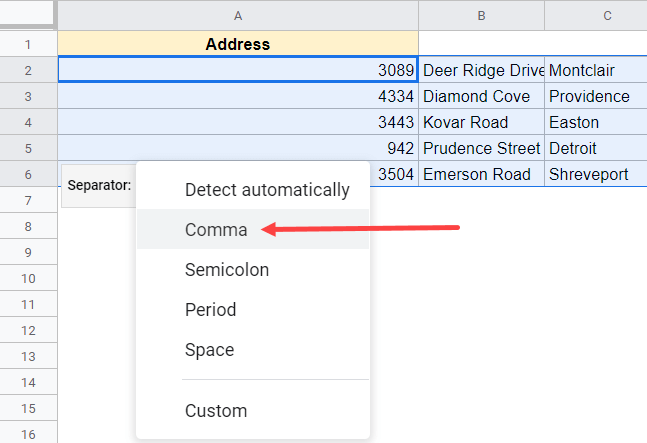 Select comma as the separator