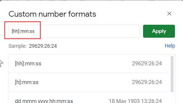 Enter the custom number format