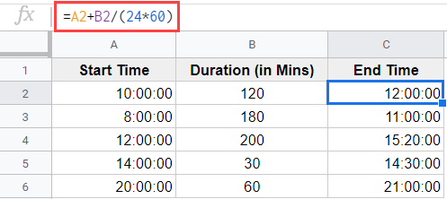 Formula to add minutes in Google Sheets