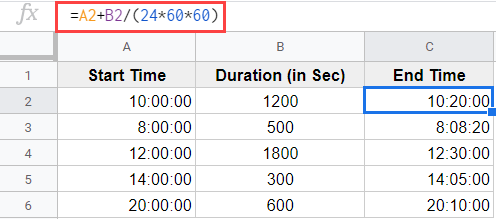 Formula to add seconds in Google Sheets