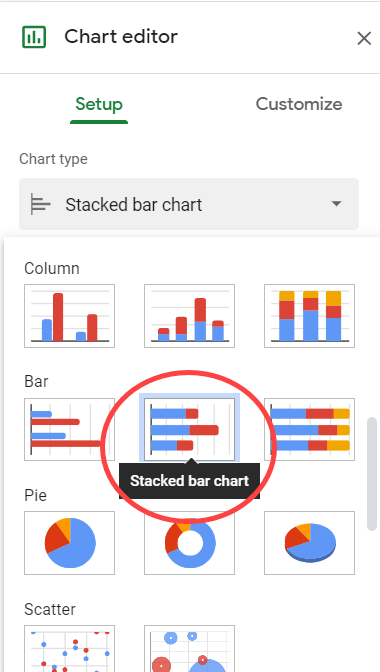 Select Stacked bar chart option in Chart editor