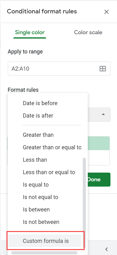Click on custom formula is option in the drop down