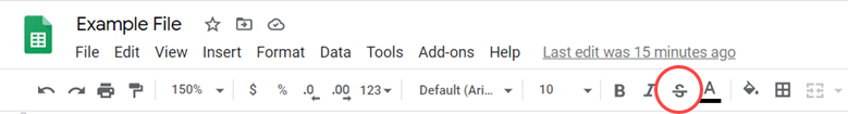 Click on the strikethrough option in the toolbar