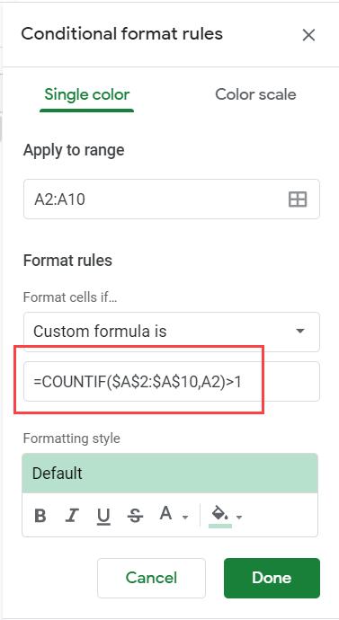 Enter the formula to highlight duplicates