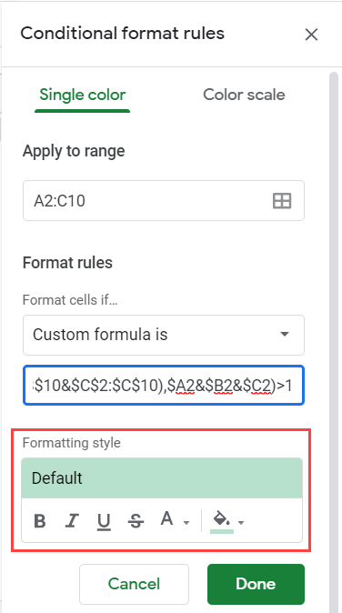 Formatting for duplicate highlight in rows