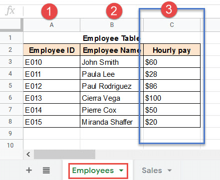 Select the column number from which you want to fetch