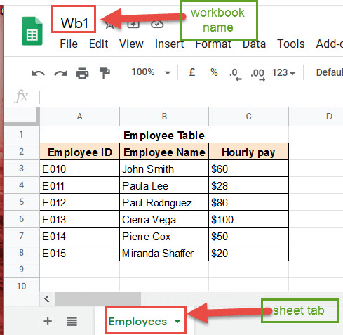 Workbook name and Sheet name