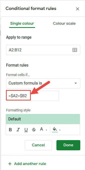 Conditional formatting formula by row by row comparison