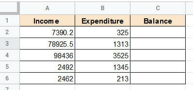 Dataset to Subtract in Google Sheets
