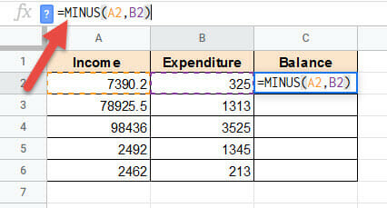 Enter references in the MINUS formula