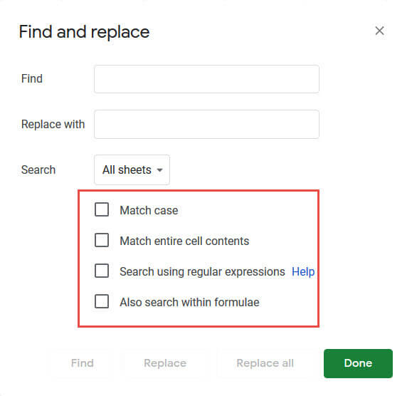 Find and replace options