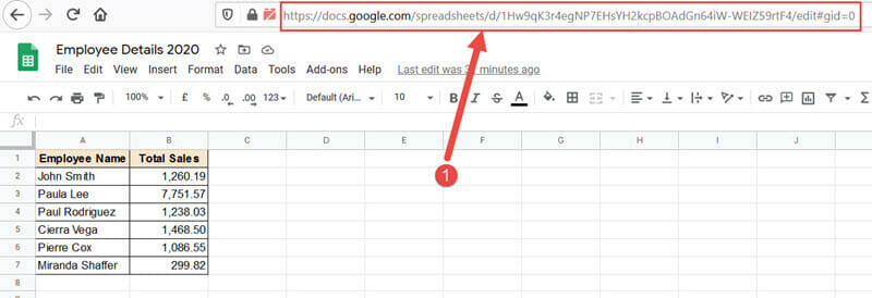 Google Sheets URL from which you want to fetch the value