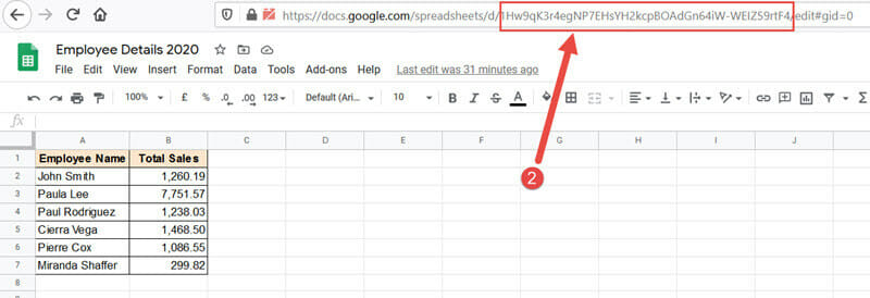 Google Sheets Workbook key from which you want to fetch the value