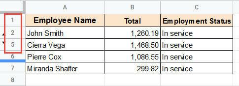 Hidden rows in a dataset